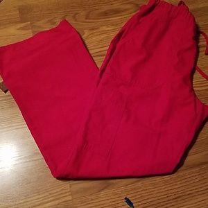 Crayon red scrub pants